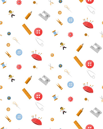 Background with tools for handmade. Various objects on a white background. Illustration Vector Çizim