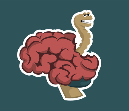 The worm eats the brain sticker on a green background illustration vector
