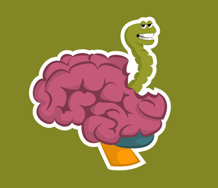 The green worm eats the brain. Sticker on a green background. Illustration Vector