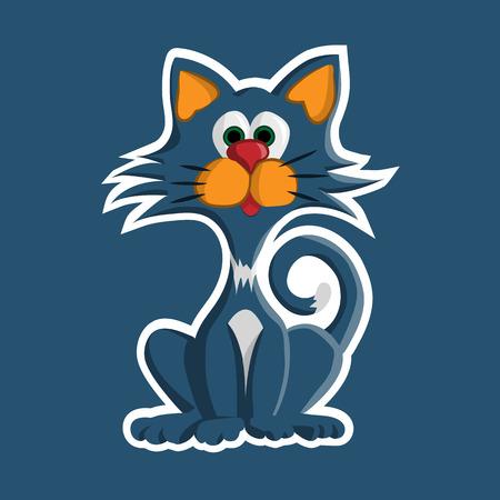 Blue cat sticker on blue background. Illustration Vector
