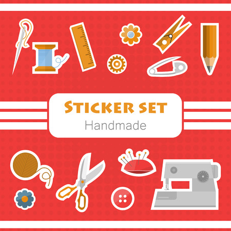 Set of tool for handmade stickers on red background. Illustration Vector