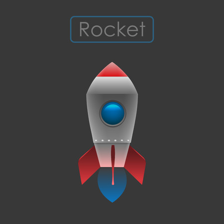 Flying rocket vector Illustration.
