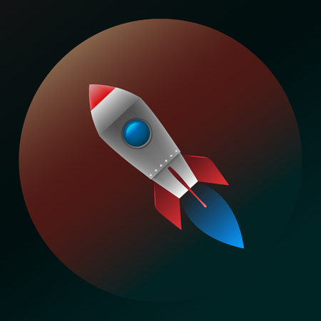 Flying rocket with fire on a planet background. It has red, blue, gray colors. Vector Illustration.