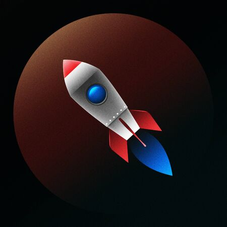 Flying rocket with fire on a planet background. It has red, blue, gray colors. Illustration