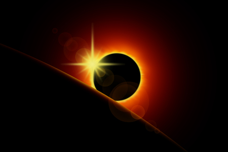 Illustration of a solar eclipse. The planet or moon obscures the sun. Image in black and red shades
