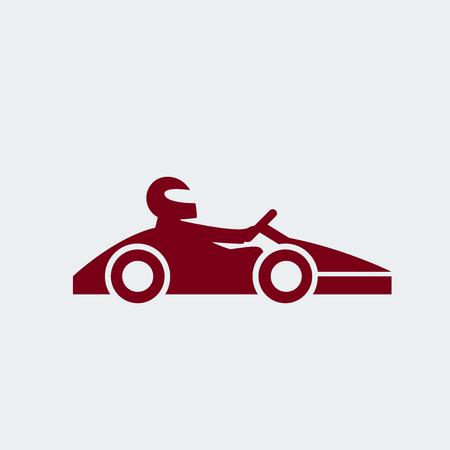 kart: Kart with driver icon. Vector illustration.