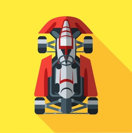 kart: Kart with driver icon. Vector illustration in flat style. Illustration