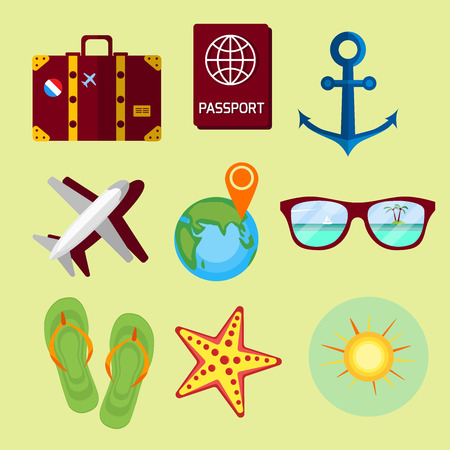 Travel, summer vacation, beach rest: sun, sea, waves, suitcase, shoes, passport, map. Vector flat background and objects illustrations. Icon set. Illustration