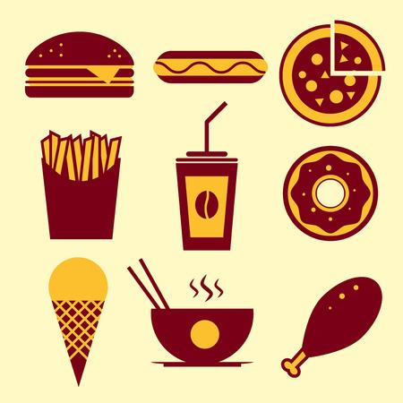 chinese fast food: Icono Comida r�pida establecido. Burger, helados, caf�, comida china, perros calientes, donuts, pizza, pollo frito, papas fritas.