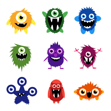 animal eye: set of cartoon cute monsters and aliens.