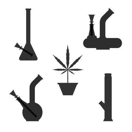 Marijuana equipment. Set of different bongs with cannabis plant in pot.  Illustration