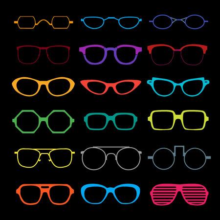 retro glasses: set of different glasses on white background.