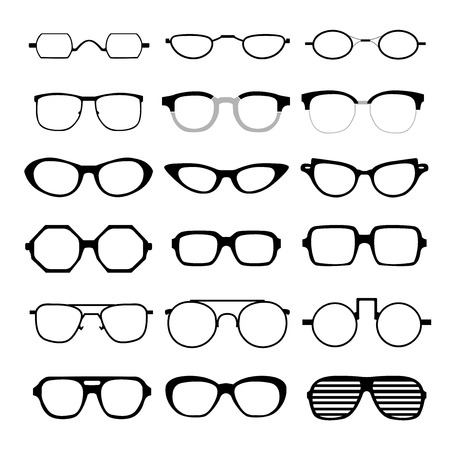 set of different glasses on white background.
