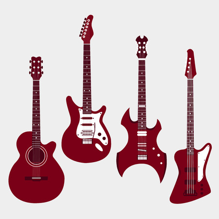 Set of different guitars. Acrostic guitar, electric guitar, heavy metal guitar, bass guitar.