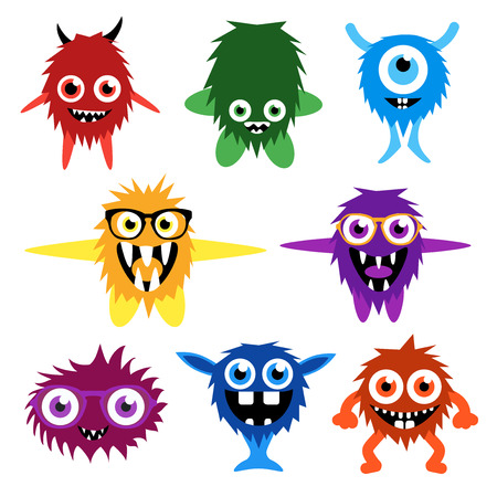 smiling faces: set of cartoon cute monsters and aliens.