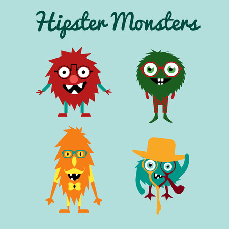 freaky: Set of freaky cute retro hipster alien monsters.