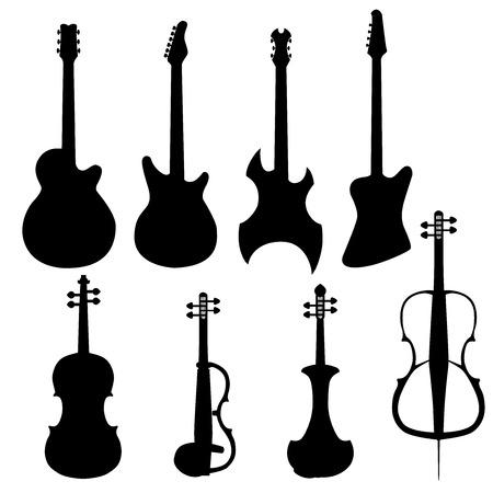 frets: un conjunto de instrumentos de cuerda. Cello el�ctrico, guitarra baja, guitarra cl�sica el�ctrica, cl�sica, viol�n el�ctrico, guitarra heavy metal. Aislados instrumentos musicales siluetas sobre fondo blanco.