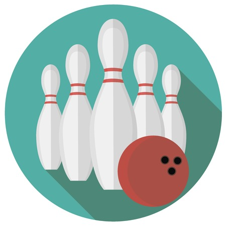 bowling strike: illustration of bowling. Flat style design.