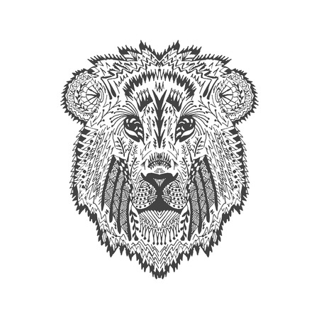 lion drawing: stylized lion head.