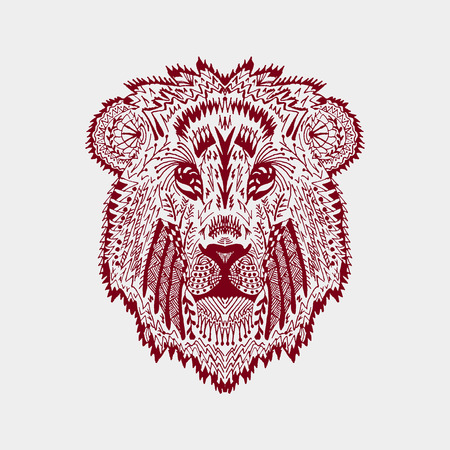 black and white line drawing: stylized lion head.