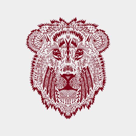 dessin noir et blanc: t�te de lion stylis�.