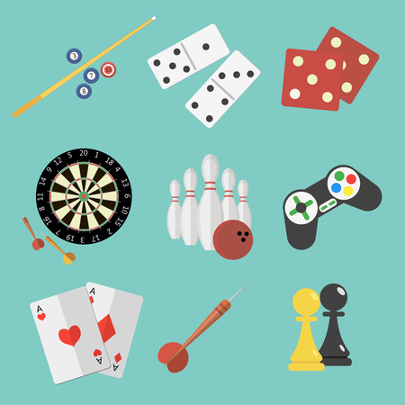 Set of game and sport icons in flat style design. Joystick, pair of aces, billiard, darts, dice, bowling, chess, domino pieces.