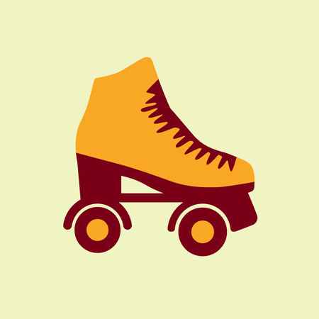 casters: Roller skate. Skating shoe pictograph on lime background.
