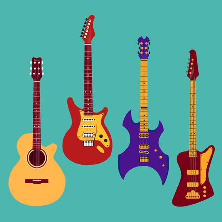 Set van verschillende gitaren. Acrostichon gitaar, elektrische gitaar, heavy metal gitaar, basgitaar. Stock Illustratie