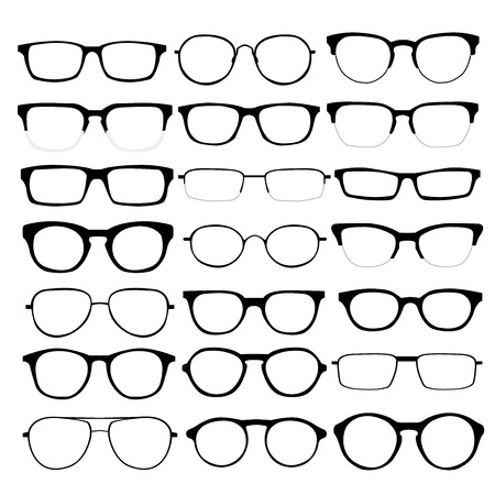 geek: set of different glasses on white background.