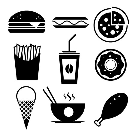 fry: Fast food icon set. Burger, ice cream, coffee, chinese food, hotdog, donut, pizza, fried chicken, french fries.