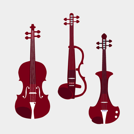 fiddle bow: Set of different violins. Classical violin, electric violins. Isolated musical instruments.