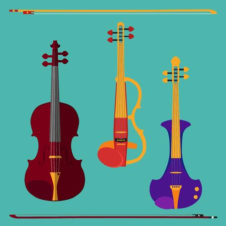 別のバイオリンのセットです。古典的なバイオリン、弓とエレクトリック ・ ヴァイオリン。青緑背景に分離された楽器。 写真素材 - 42721204