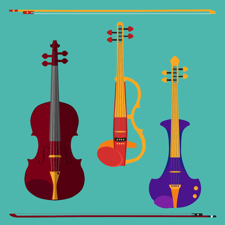 fiddle bow: Set of different violins. Classical violin, electric violin with bows. Isolated musical instruments on teal background.