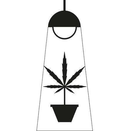 indoors: Marijuana grow box. Flat design. Dark blue background icon