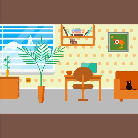 train table: illustration of home office workplace with furniture and plants in pot.