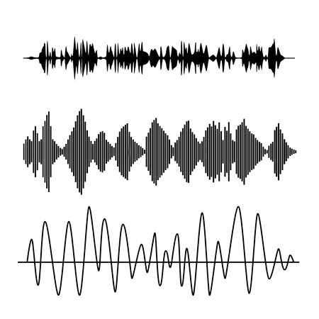 sound waves set. Audio technology advertising background.