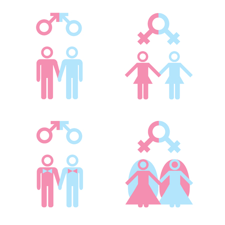 LGBT concept. Gay marriage icon set. Icons of gay lesbian couple with male female markers.