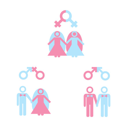 nude lesbian: LGBT concept. Gay marriage icon set. Icons of gay lesbian couple with male female markers.