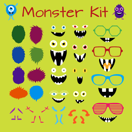 monster face: Monster and Character Creation Kit. Fully editable, scalable and customizable.