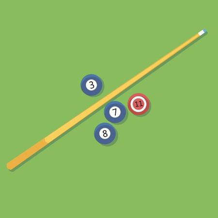 billiards cue: Vector illustration of billiards. Pill. cue and balls.