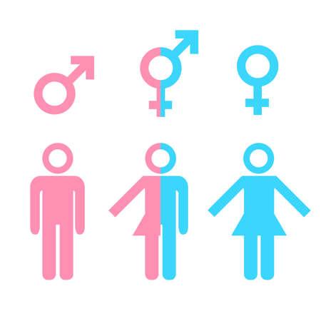 man and woman sex: Трансгендер концепция транссексуалом. Икона различных гендерных лиц с мужским женским маркером. Иллюстрация