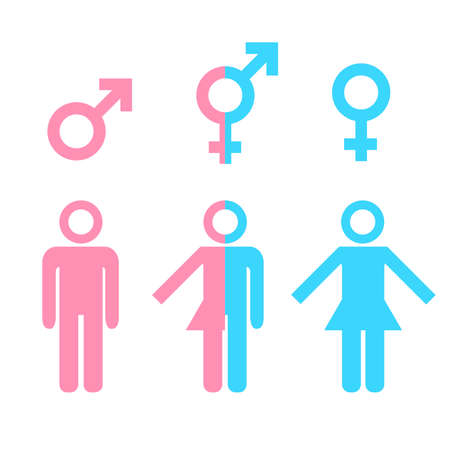 men sex: Transgender transsexual concept. Icon of different gender persons with male female marker. Illustration