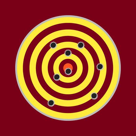 backstop: Shooting range concept. Target shot full of bullet holes.