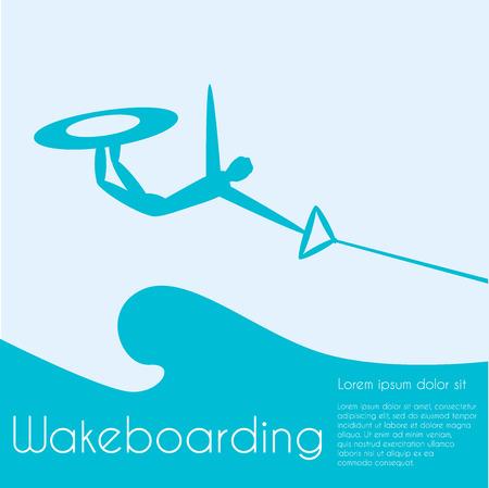 persona saltando: Despierta de embarque. Deportes extremos. Persona Silueta de saltar a bordo estela en el fondo del mar.