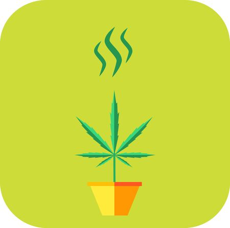 cannabis sativa: Marijuana growing concept. Odor icon.  Illustration