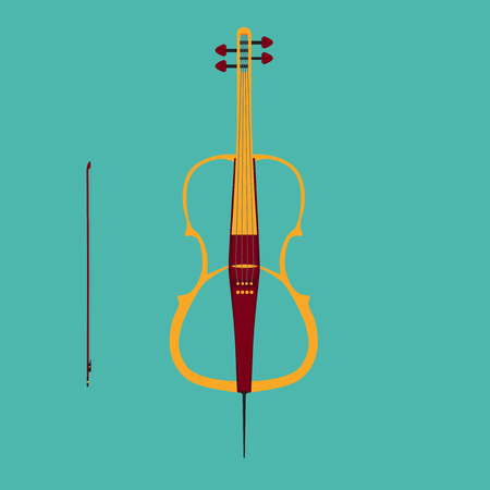 fingerboard: Electric cello with bow.