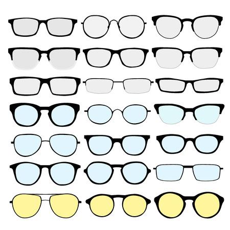 Glass: conjunto de diferentes vidrios en el fondo blanco. Marcos retro, caminante, aviador, friki, inconformista. El hombre y la mujer anteojos y gafas de sol siluetas. Vectores