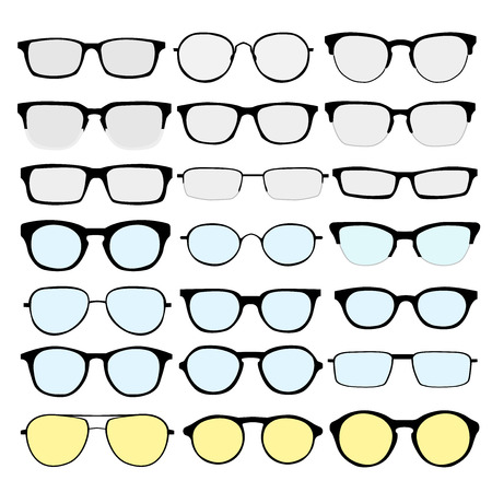 glass modern: set of different glasses on white background. Retro, wayfarer, aviator, geek, hipster frames. Man and women eyeglasses and sunglasses silhouettes. Illustration