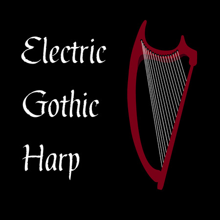 stringed: Gothic electric harp. Stringed musical instrument.