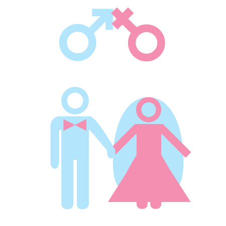marriage ceremony: Marriage. Icon of couple with male female marker. Illustration